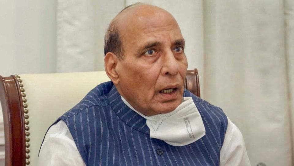 Defence Minister Rajnath Singh reviews the contribution of Defence Public Sector Undertakings (DPSU) and Ordnance Factory Board (OFB) to fight COVID-19 and their operational plans, through video conferencing with chairmen & managing directors of DPSUs as well as Director-General, Ordnance Factories & Chairman, OFB, in New Delhi.