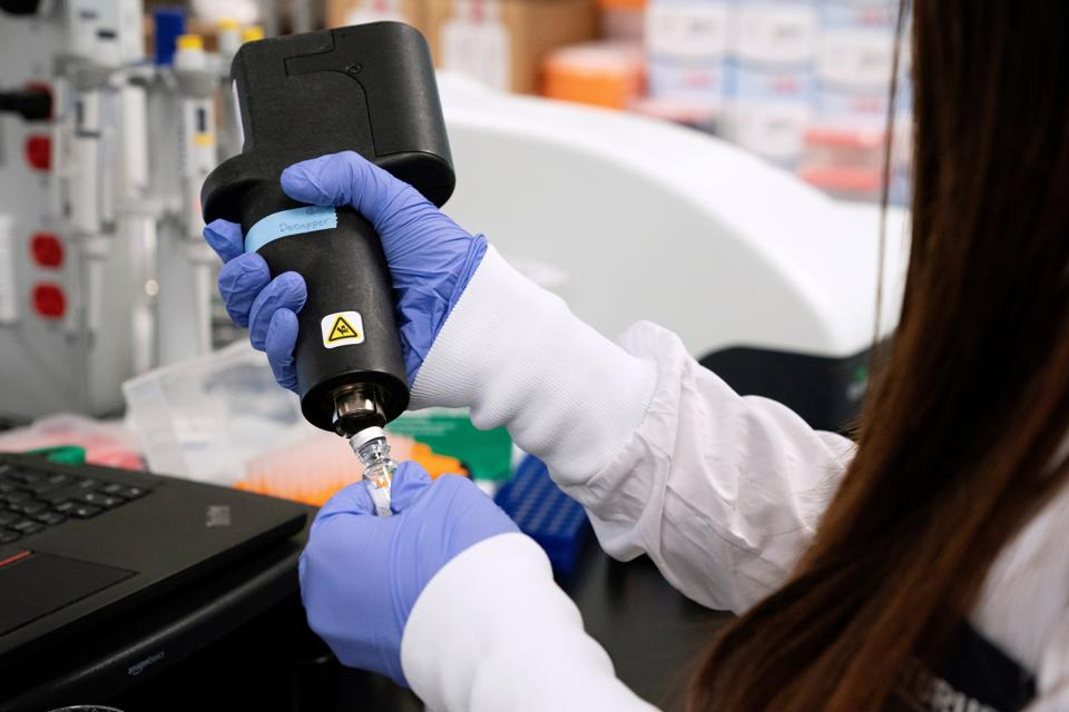 A scientist at RNA medicines company Arcturus Therapeutics research a vaccine for the novel coronavirus at a laboratory in San Diego, California, US.