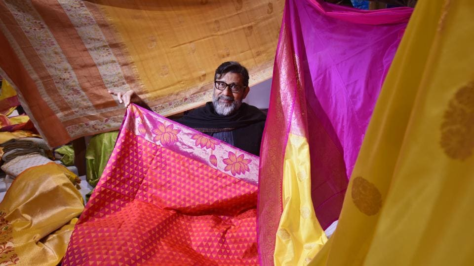 A master weaver showcases his collection of handloom weaves.