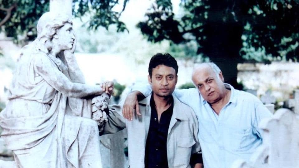 Irrfan Khan and Mahesh Bhatt on the sets of one of their films.