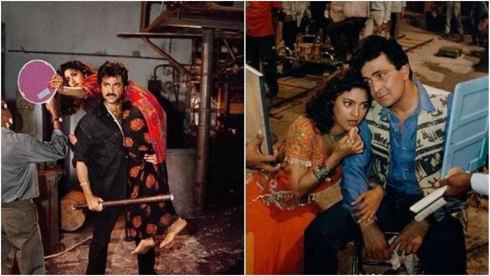 Anil Kapoor and Sridevi, Rishi Kapoor and Juhi Chawla on the sets of their films.