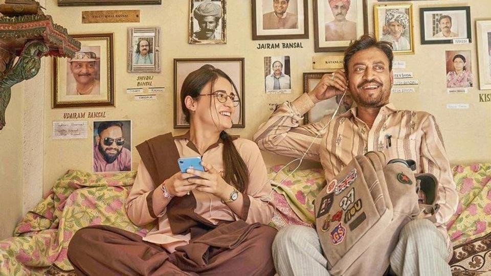 Radhika Madan and Irrfan Khan in a still from Angrezi Medium.