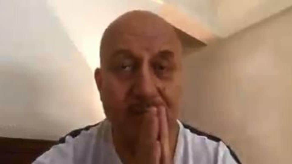 Anupam Kher in a screengrab from his video message.