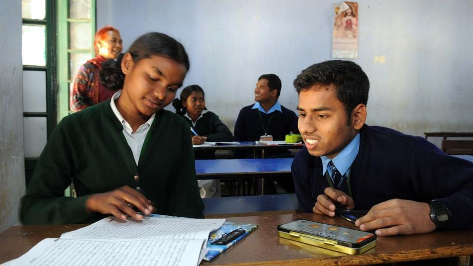 File photo of visually impaired students appearing in an exam