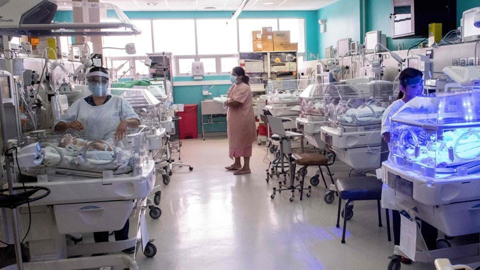 A woman (C) visits her newborn baby in the Neonatology unit. Image for representation purpose only.