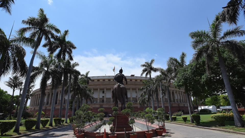 A view of the Parliament House seen as Lok Sabha and Rajya Sabha secretariats resumed work from today after they were shut in the last week of March due to the COVID-19 outbreak, in New Delhi.