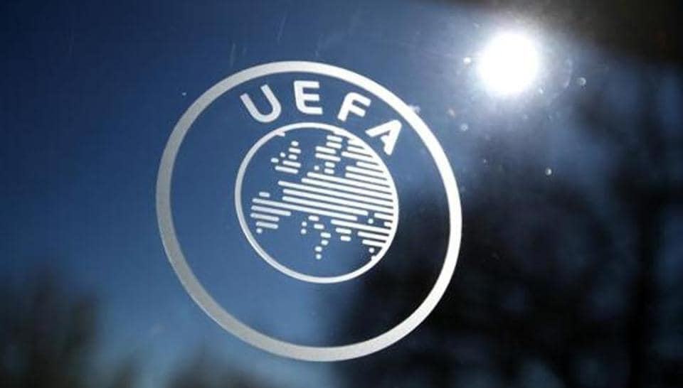 General view of the UEFA logo at UEFA Headquarters.