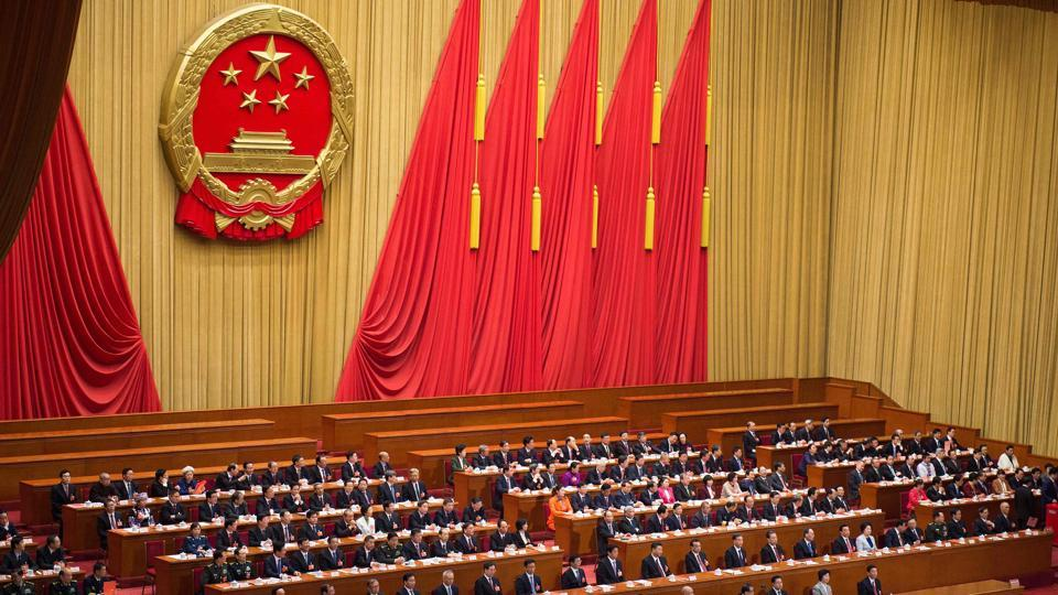 This file photo taken on March 17, 2018 shows a general view of the fifth plenary session of the first session of the 13th National People's Congress (NPC) at the Great Hall of the People in Beijing.  China's top legislature will hold its annual session in May 2020 after postponing the meeting for the first time in decades due to the coronavirus outbreak.