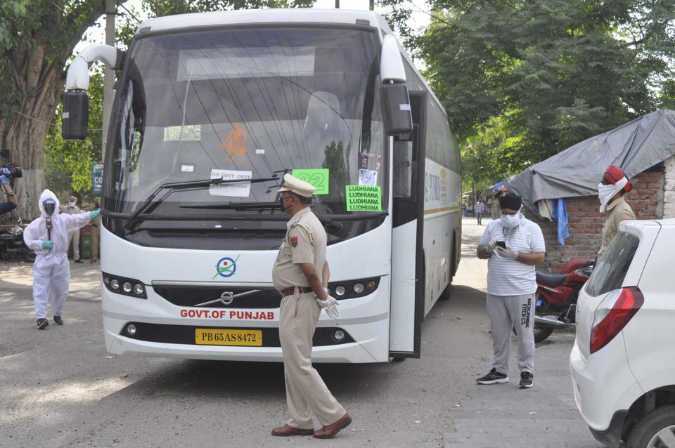 Four buses ferrying nearly 156 pilgrims arrived at the civil hospital in Ludhiana on Wednesday.