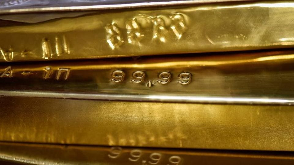 Gold bars are seen at the Kazakhstan's National Bank vault in Almaty, Kazakhstan.
