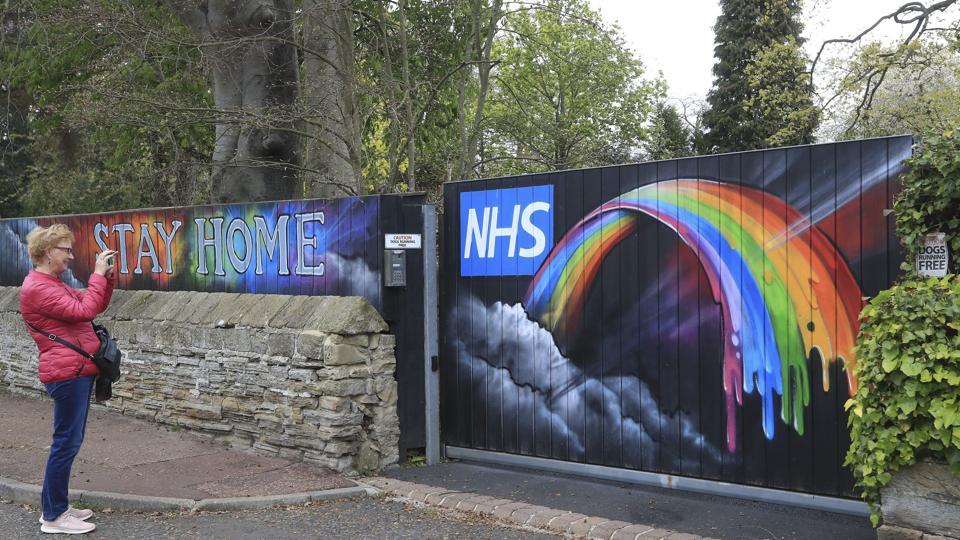 Rainbow National Health Service (NHS) graffiti painted on a private gate in Newcastle, England, as the UK continues in lockdown to help curb the spread of the coronavirus, Thursday April 30, 2020.