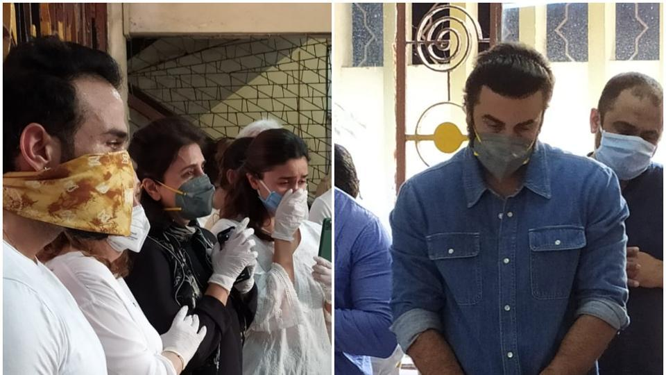 Rishi Kapoor's funeral: Ranbir Kapoor, Alia Bhatt and other members of the family attend.