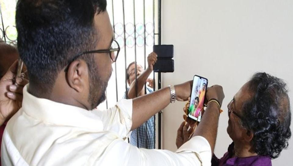 The couple got married through video call.