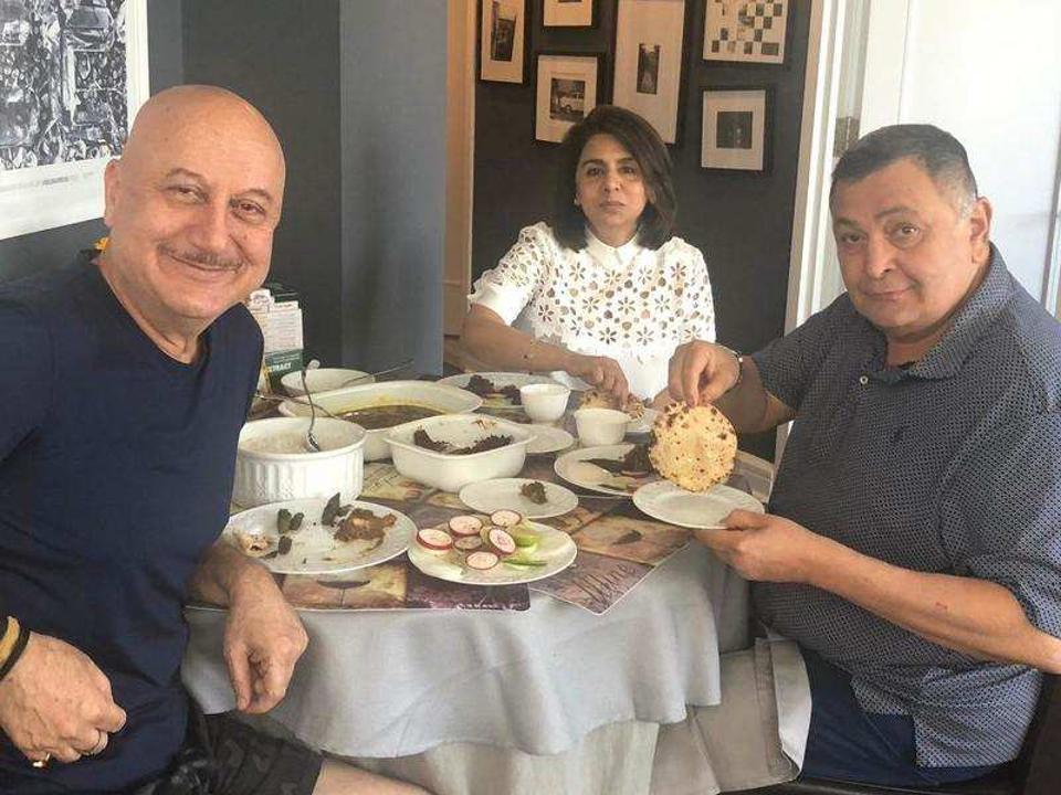 Anupam Kher with Neetu Singh and Rishi Kapoor in New York.
