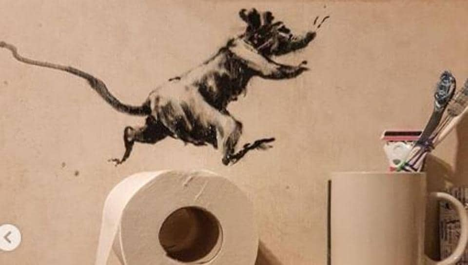 Banksy has stuck to the letter of the law, having his trademark rats run riot in his bathroom, with one taking a tinkle on his toilet seat.