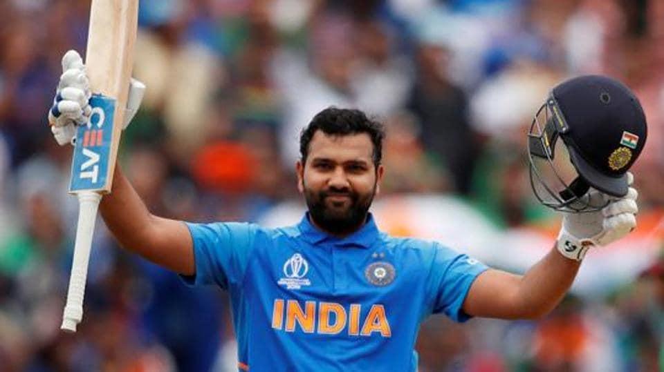 India's Rohit Sharma celebrates his century.  (Action Images via Reuters)