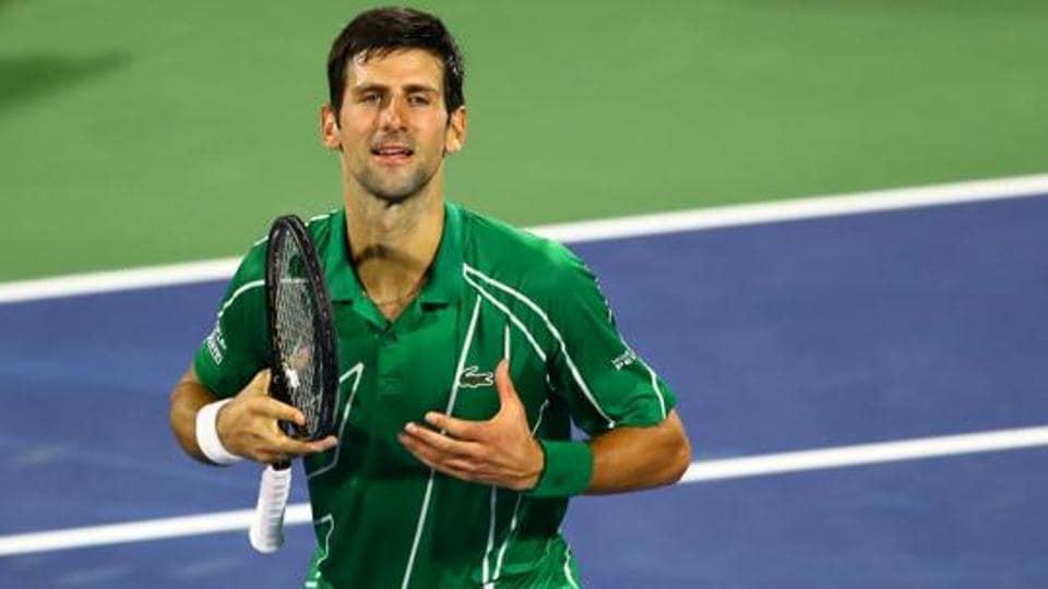 Serbia's Novak Djokovic celebrates after winning the Final match against Greece's Stefanos Tsitsipas.