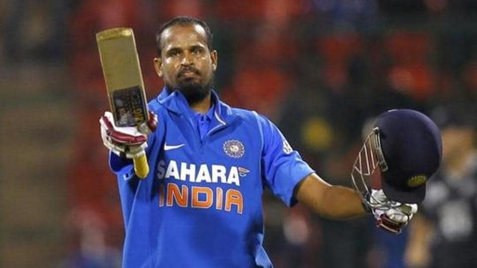 India's Yusuf Pathan celebrates after scoring a century during the fourth one-day international cricket match against New Zealand in Bangalore.