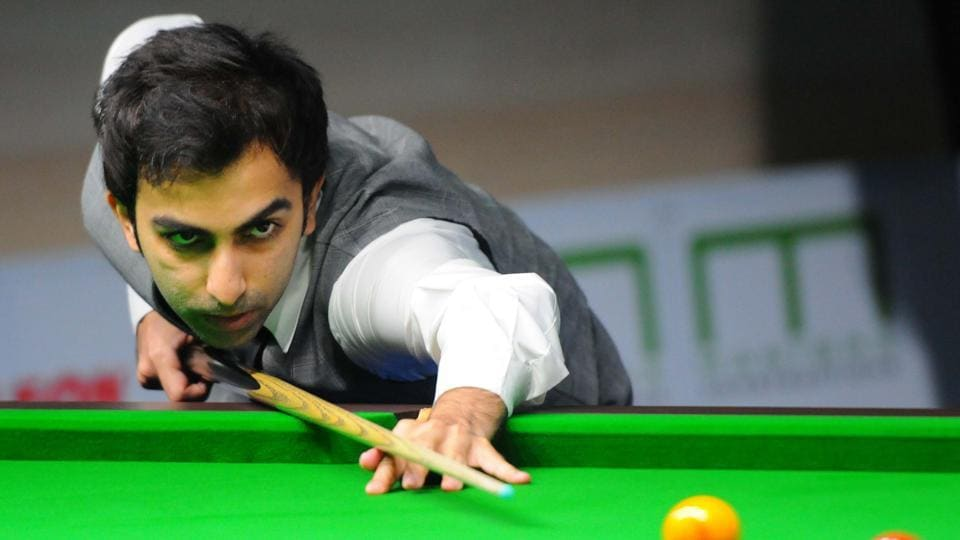 Pankaj Advani from India in action during the Manisha Asian Championship at Community Centre Sector 19 in Chandigarh.