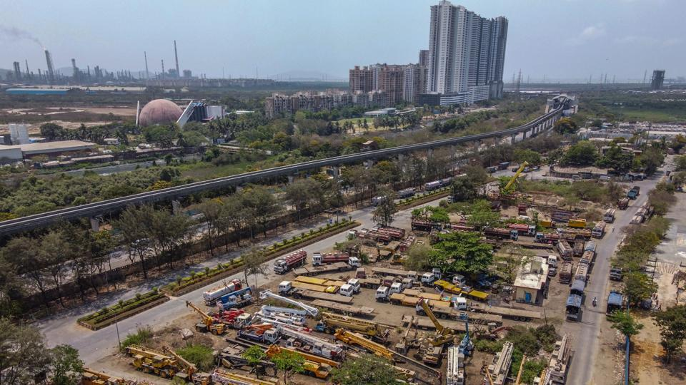 Aerial view of Wadala Truck Terminal where all the big trucks are parked during nationwide lockdown due to Covid-19 coronavirus in Mumbai.