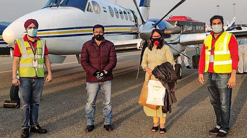 Asian Games Gold Medallist Dingko Singh along with his wife Ngangom Babai Devi flew from Imphal to Delhi by SpiceJet's air ambulance service for his liver cancer treatment in New Delhi.