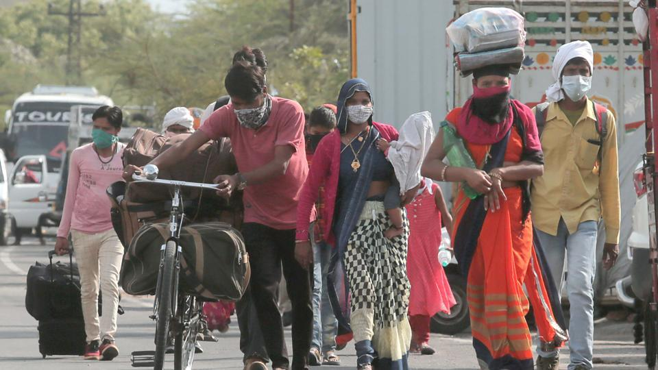 Migrant workers leave for their native state, during lockdown, in Jaipur.