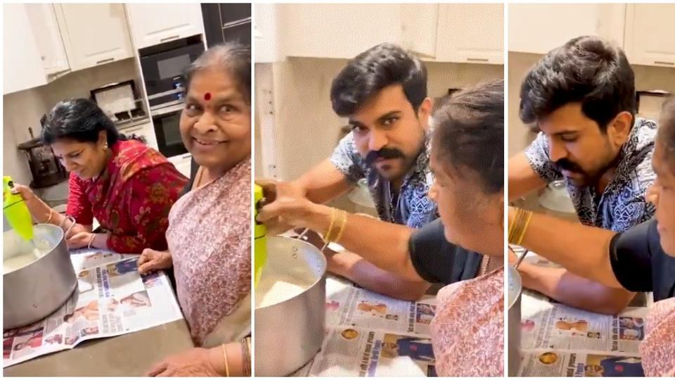 Ram Charan posted a new video where he is learning to make butter from his grandmother.