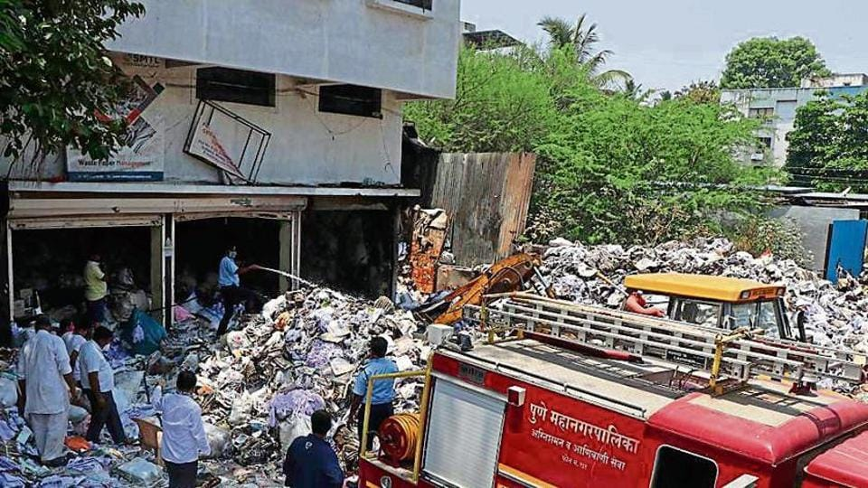 A scrap paper godown caught fire near Market Yard gate number 9 on Wednesday midnight. No one was injured in the incident.