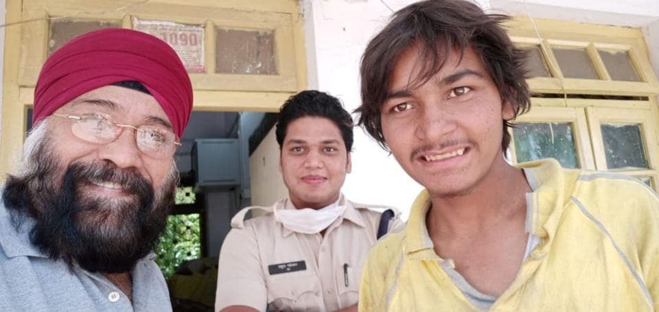 Social activist Pritpal Singh with Lovepreet, who was rescued from Madhya Pradesh.