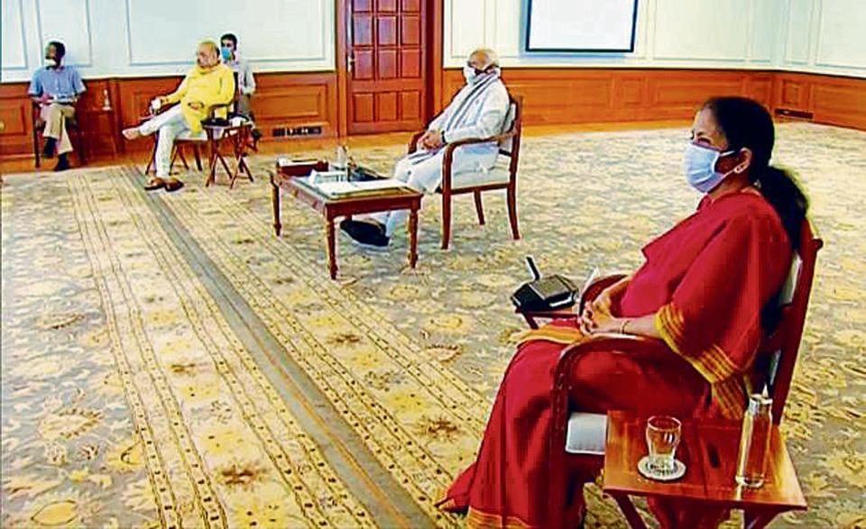 Home minister Amit Shah, PM Narendra Modi and finance minister Nirmala Sitharaman at the meeting on Thursday.