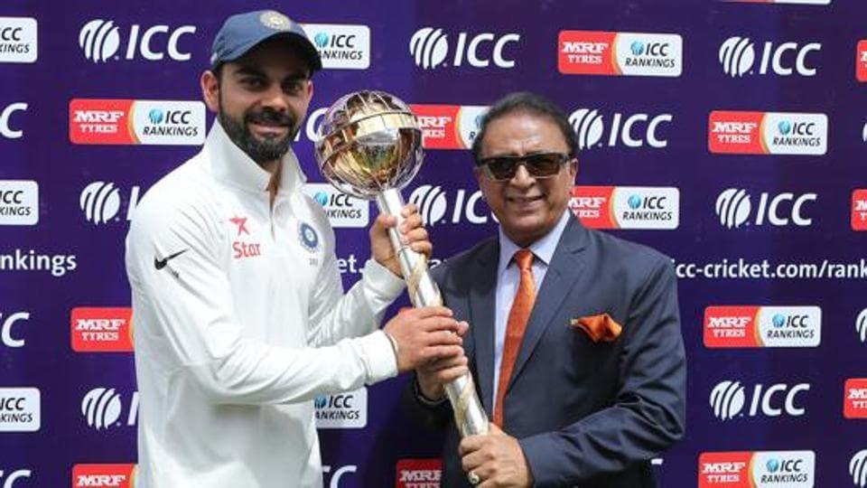 File photo of Sunil Gavaskar presenting Virat Kohli Captain of India with the ICC Test Mace