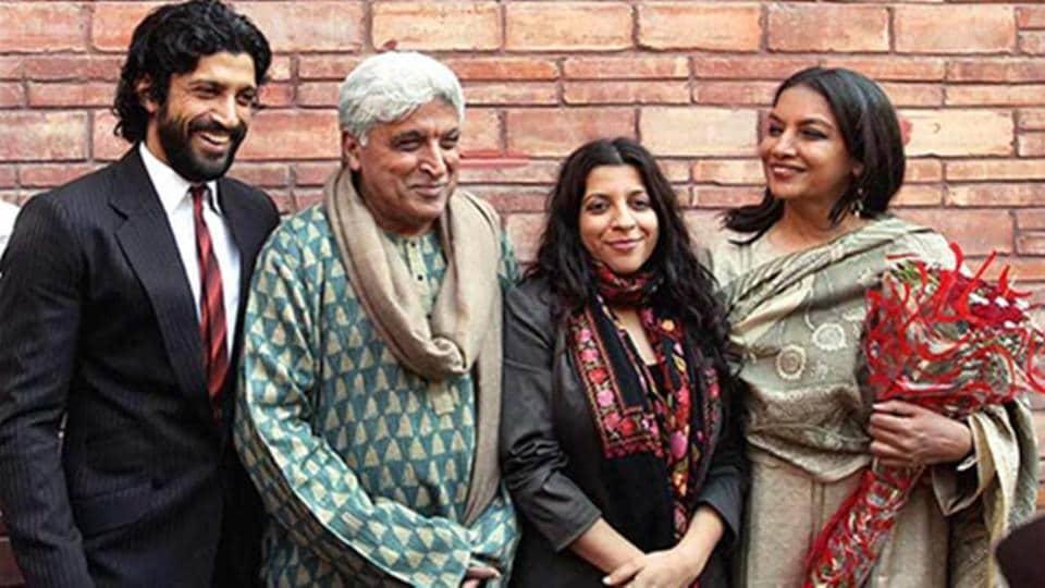 Javed Akhtar with Shabana Azmi and children Farhan and Zoya.