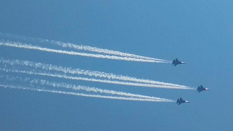 Guwahati: Indian Air Forces' (IAF) Su 30 fighter planes carry out flypast in the skies over Guwahati, Sunday, May 3, 2020, to express gratitude towards medical professionals and other frontline workers fighting against COVID-19.