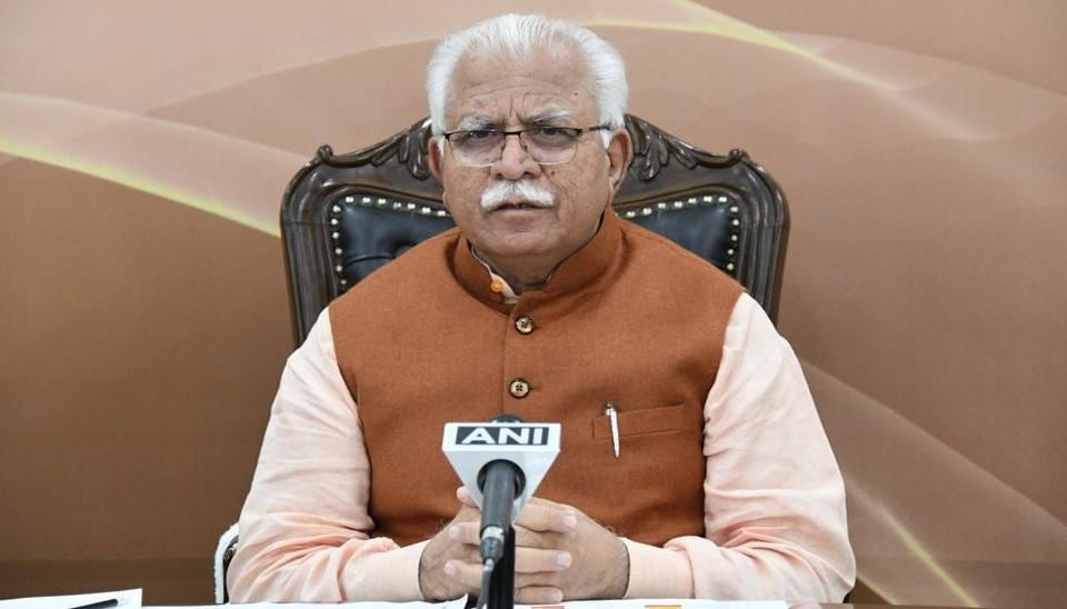 Haryana chief minister Manohar Lal Khattar addressing the people of the state through a live telecast at Chandigarh on Saturday.