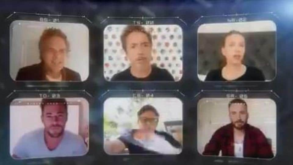 The six original Avengers cast members in a screengrab from their virtual reunion.
