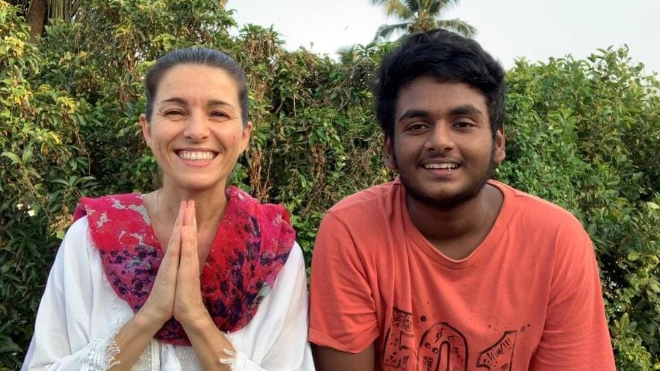 Stephanie Herve, the French music therapist with Tomson Antony in Kochi.