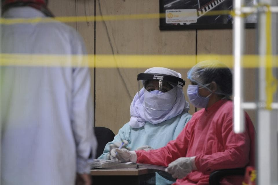 Noida, India - April 27, 2020: Medical professional seen inside district hospital in sector 30 during lockdown