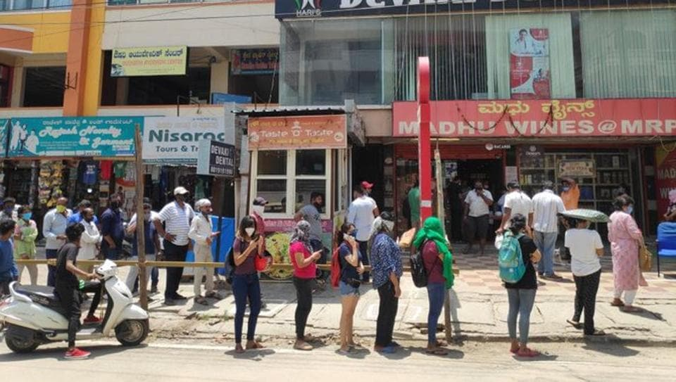 Separate line for women in front of liquor stores in Bengaluru