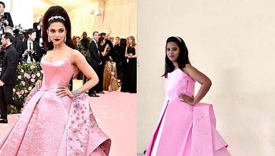 A fashion enthusiast re-creates Deepika Padukone's Met Gala look from last year.