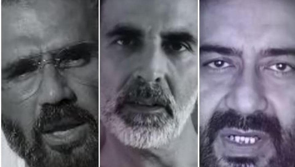 Suneil Shetty, Akshay Kumar and Ajay Devgn in a screengrab from the video.