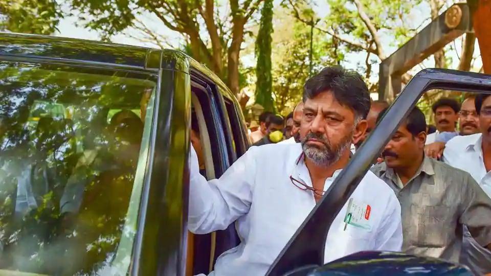 Karnataka Pradesh Congress Committee (KPCC) President DK Shivakumar leaves after a meeting with state DGP Praveen Sood (unseen), in Bengaluru. (PTI)