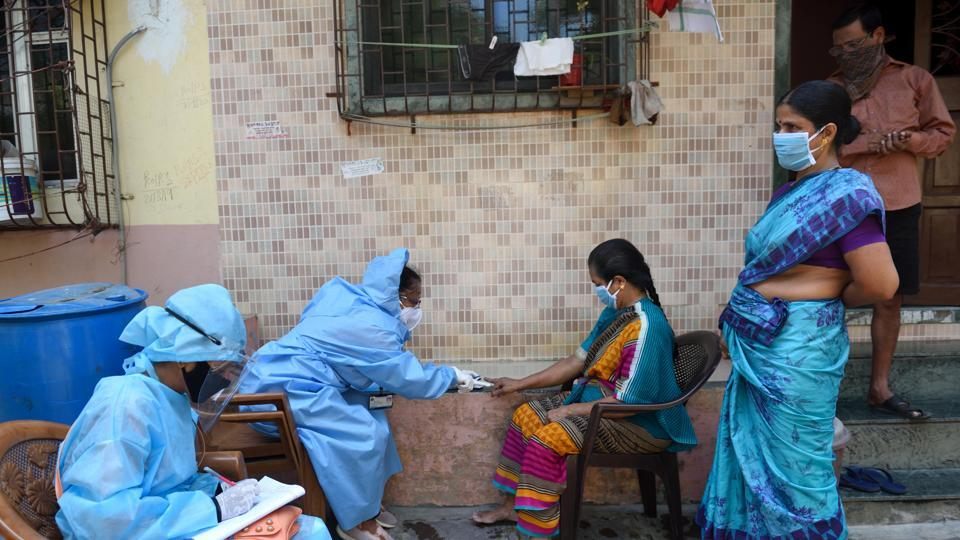 A medical screening organized for the residents of Dharavi, Mumbai, during the nationwide lockdown imposed in the wake of the coronavirus pandemic.