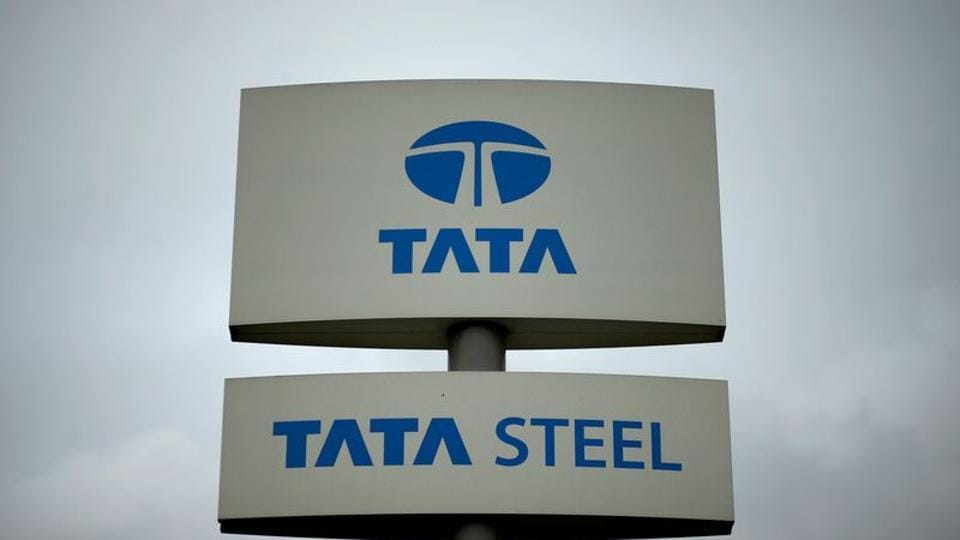 A Tata Steel sign is seen outside their plant in Scunthorpe northern England.