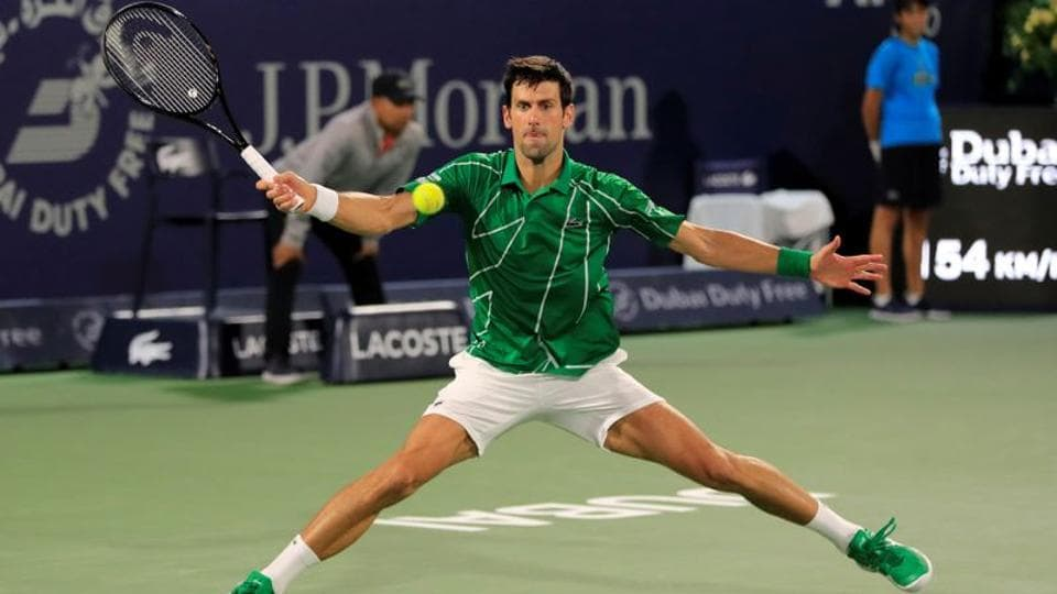 Serbia's Novak Djokovic in action during his Final match against Greece's Stefanos Tsitsipas.