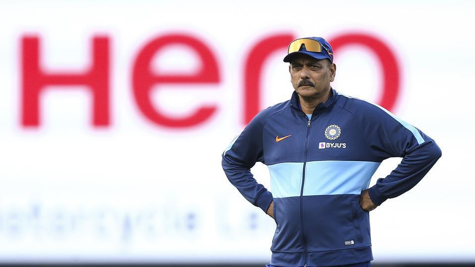 Ravi Shastri looks on during game four of the Twenty20 series between New Zealand and India.