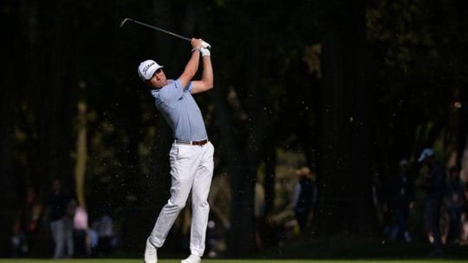 Justin Thomas plays a shot on the eighth hole during the second round of the WGC - Mexico Championship golf tournament at Club de Golf Chapultepec.
