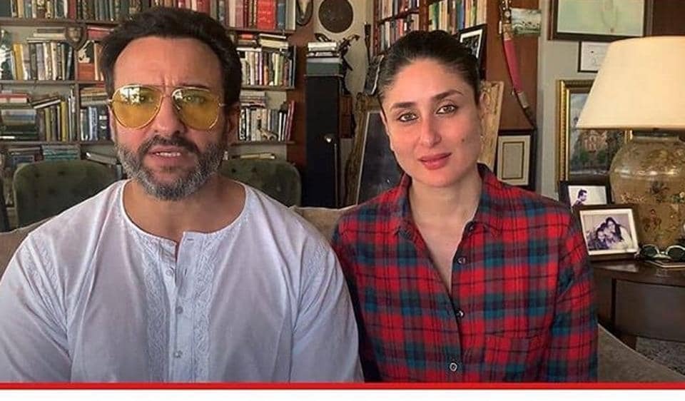 Actor Saif Ali Khan with wife and actor Kareena Kapoor Khan chose bookshelves as the backdrop for a recent live session.