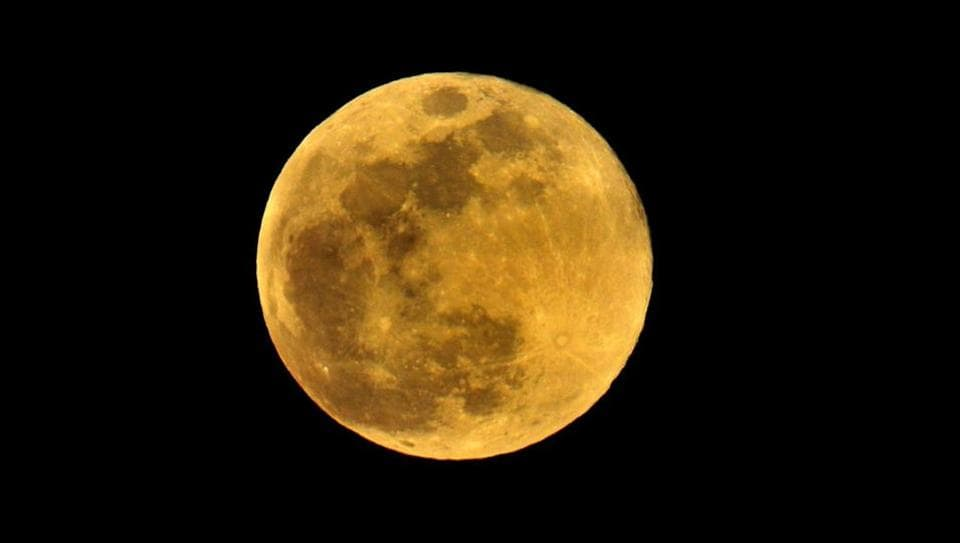 The Super Flower Moon as seen from Chandigarh, India on May 7, 2020.