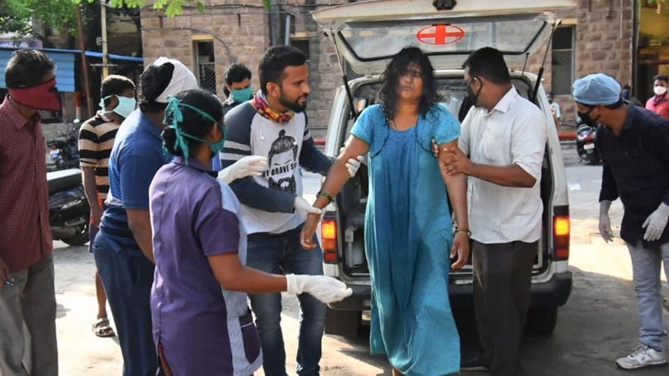 Visakhapatnam: An affected woman being taken for treatment at King George Hospital after a major chemical gas leakage at LG Polymers industry in RR Venkatapuram village on May 7, 2020.