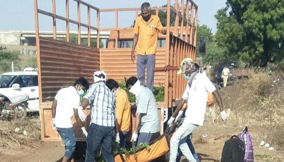 Locals helping in the rescue operation in Maharashtra after the train accident on Friday.